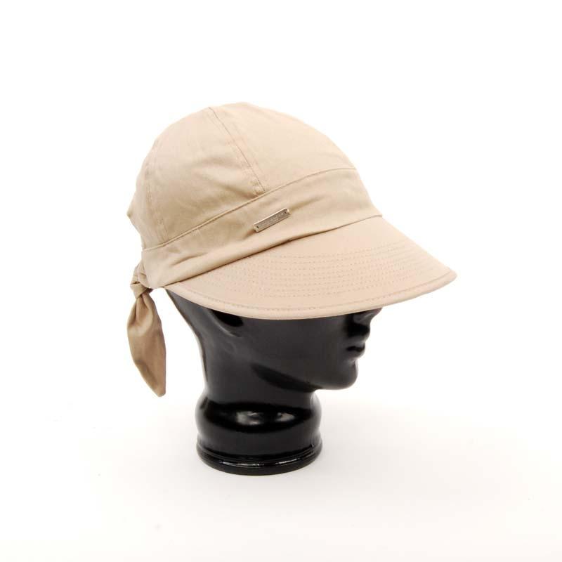 Gorra visera beige, señora, algodón, verano.