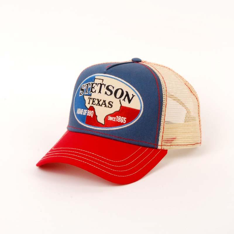 Gorra visera baseball de verano en color azul, marca SRTETSON, rejilla y botón.