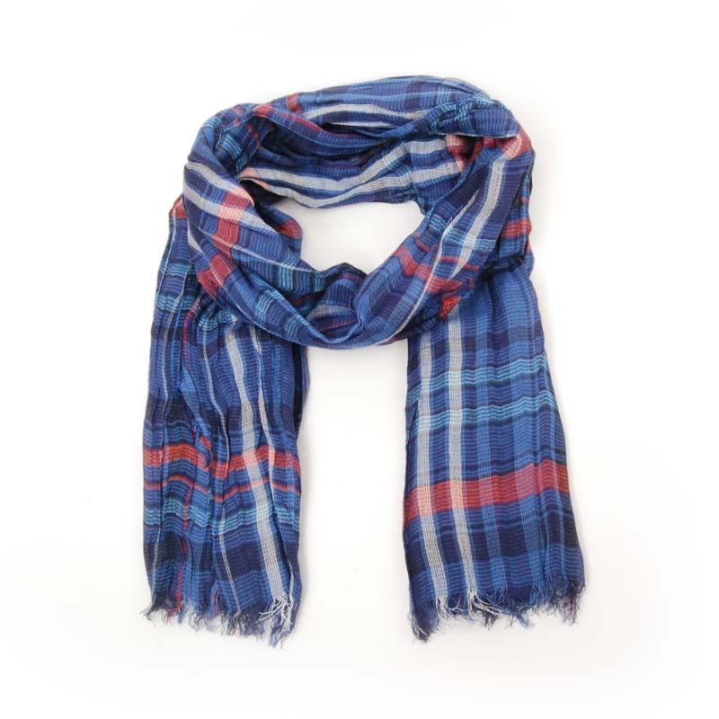 Echarpe foulard cuadros azules. Foulard de verano. Lino