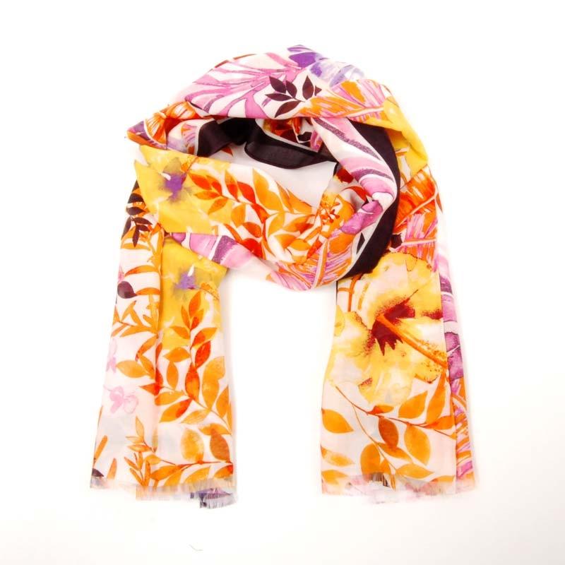 Foulard tipo pañuelo de seda y viscosa, Foulard de verano, para mujer.