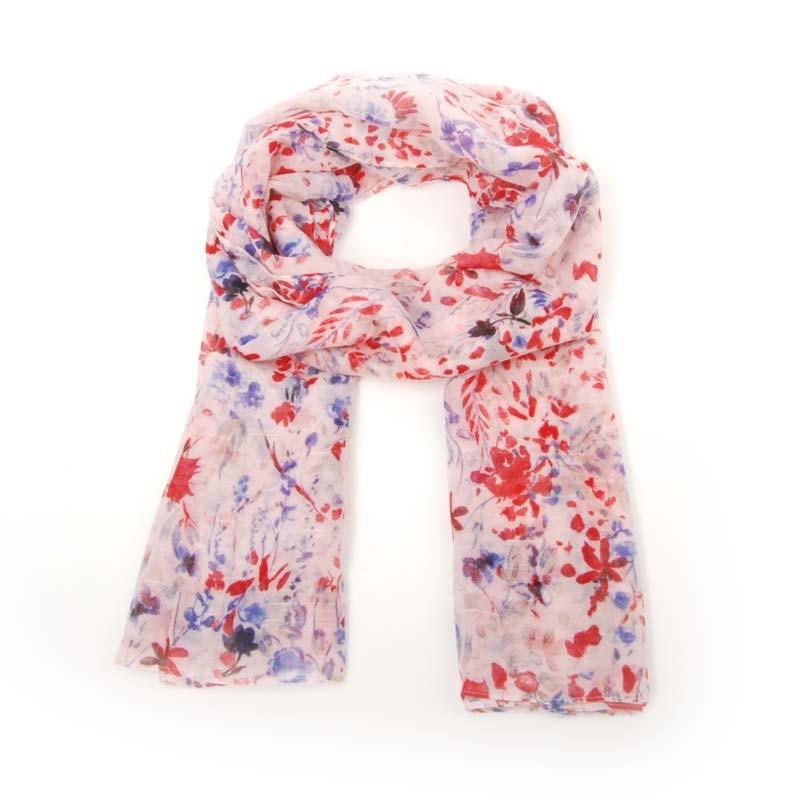 Foulard de señora para verano, estampado FLORAL. Color rosa, rojo y azul.